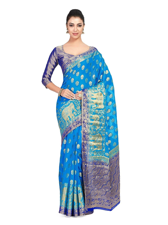 Best Blue Color Kanchipuram Chiffon Saree With Unstitched Blouse Piece