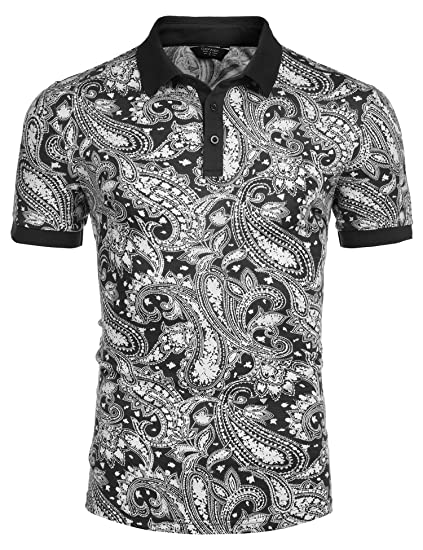 e833ebad45a4 COOFANDY Men s Short Sleeve Polo Shirt Paisley Floral Printed Casual Polo T  Shirt Black