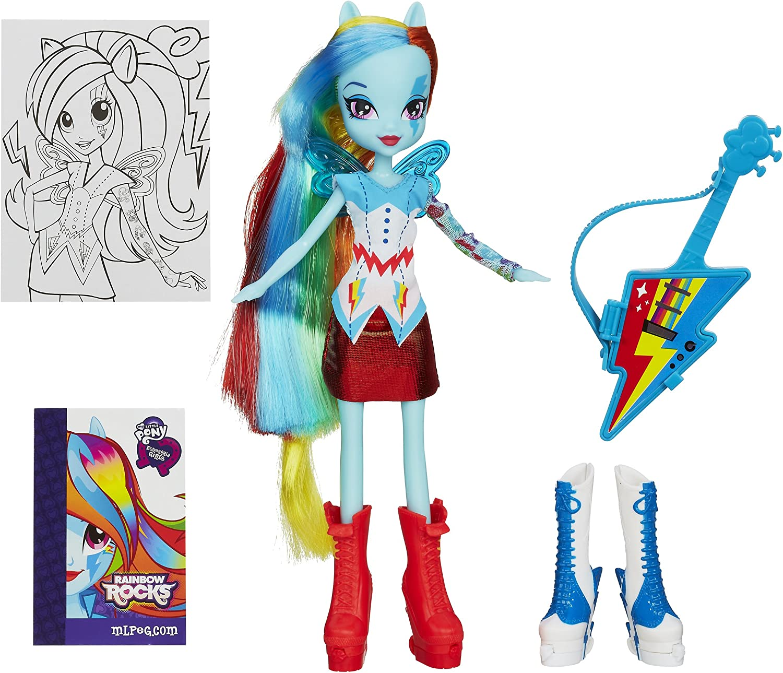 Hasbro Bambola con accessori collezione My Little Pony Equestria Girls include gonna e chitarra arcobaleno