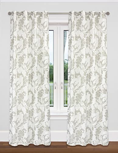 LJ Home Fashions 456 Dana Semi Sheer Floral Scroll Voile Grommet Curtain Panel Set, 54 W x 95 L, White Taupe