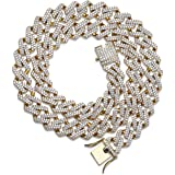 TOPGRILLZ Hip Hop 14mm Simulated Lab Diamond Iced Out Miami Curb Link Choker Chain Necklace for Men