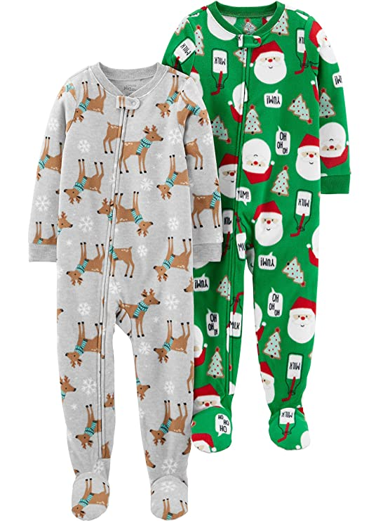 Simple Joys by Carter's Baby 2-Pack Holiday Loose Fit Flame Resistant Fleece Footed Pajamas, Blue Sloth/Heather Grey Santa, 12 Months best infant pajamas