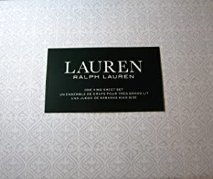 Lauren 4 Piece King Size Medallion Print Sheet Set Light Blue and White 100% Cotton