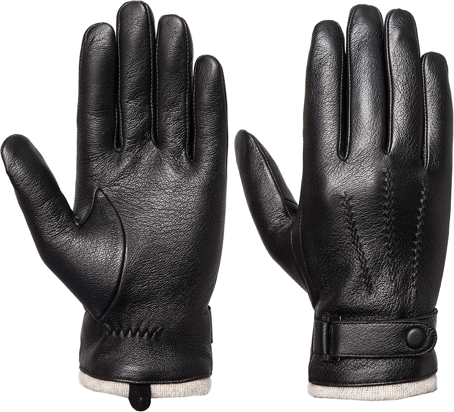 Mens Genuine Leather Touchscreen Cashmere Wool Lined Driving Gloves
