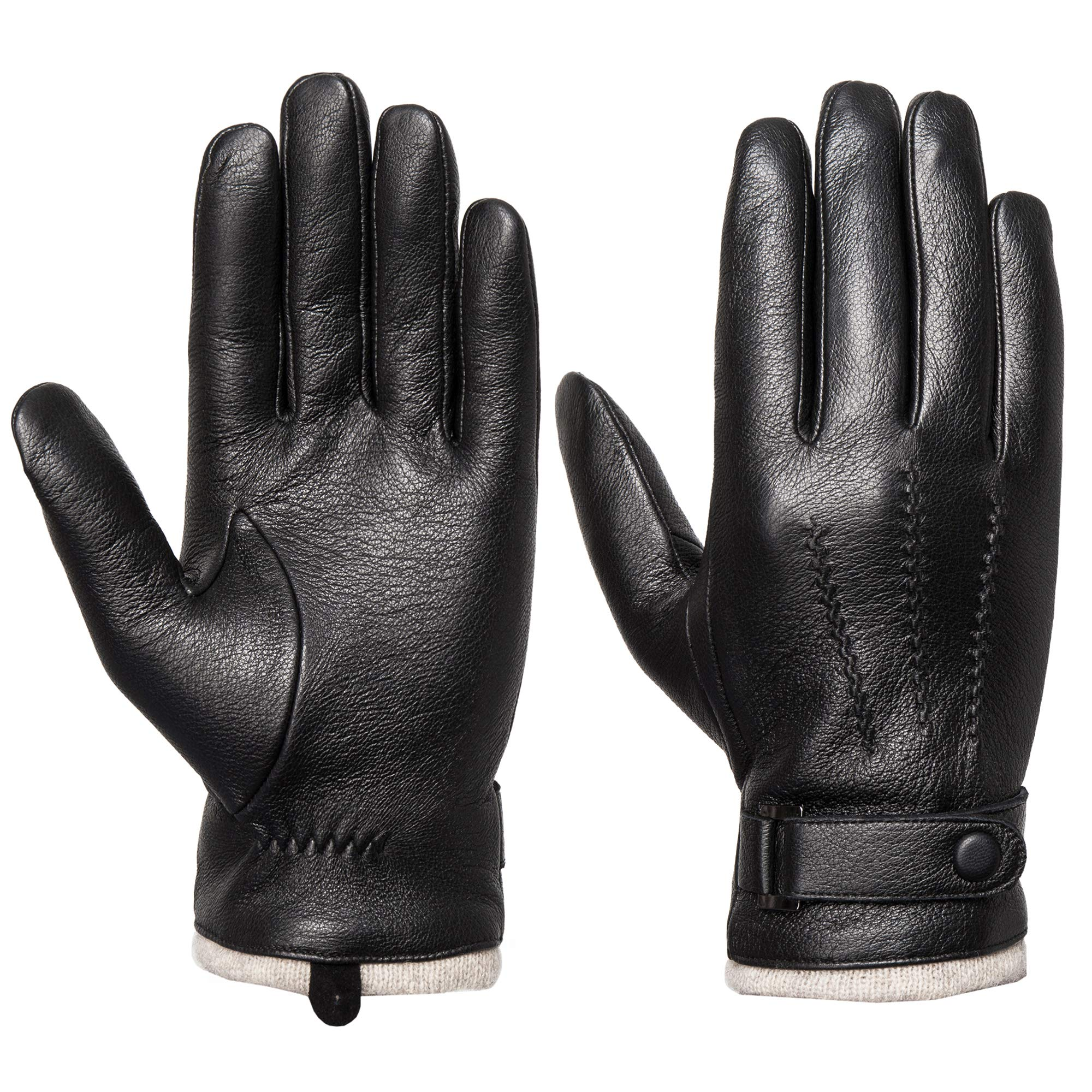 Men's Genuine Leather Gloves Winter - Acdyion Touchscreen Texting 100% Cashmere Lined Warm Dress Driving Gloves (Black, Medium)