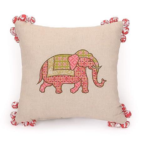 Jessica Simpson Amrita Medallion Decorative Pillow Pom Pom 14X14 RED