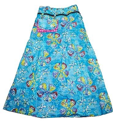 9ba8d795222b Sunsa Damen Rock Maxirock Sommerrock Wickelrock Wenderock aus Baumwolle  Zwei optisch Verschiedene Röcke mit Einem abnehmbaren