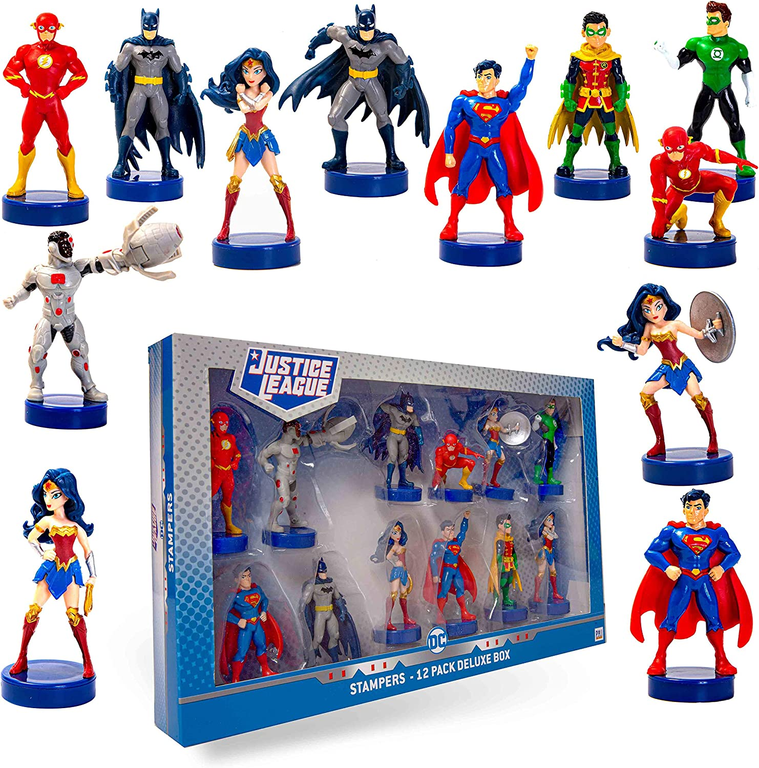 Justice League Stampers, 12-Pack – Self-Inking DC Toys, Party Decor, Cake Toppers, Action Figures – Batman, Wonder Woman, Superman, Robin, Flash, and More by PMI, 2.4 in, Ages 3+