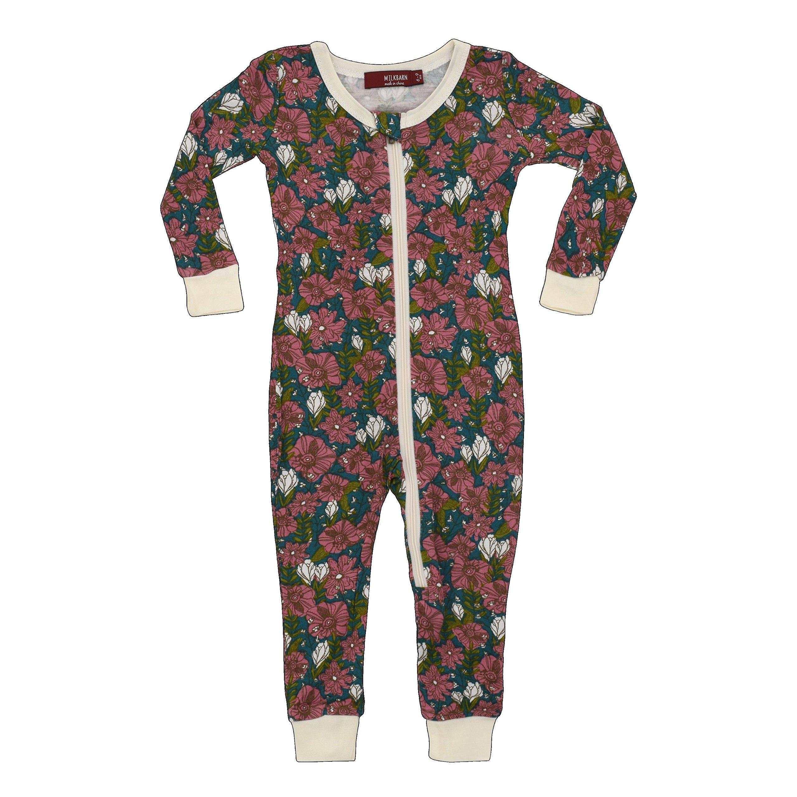 MilkBarn Bamboo Zipper Pajama - Teal Floral (6-9 Months) by MilkBarn