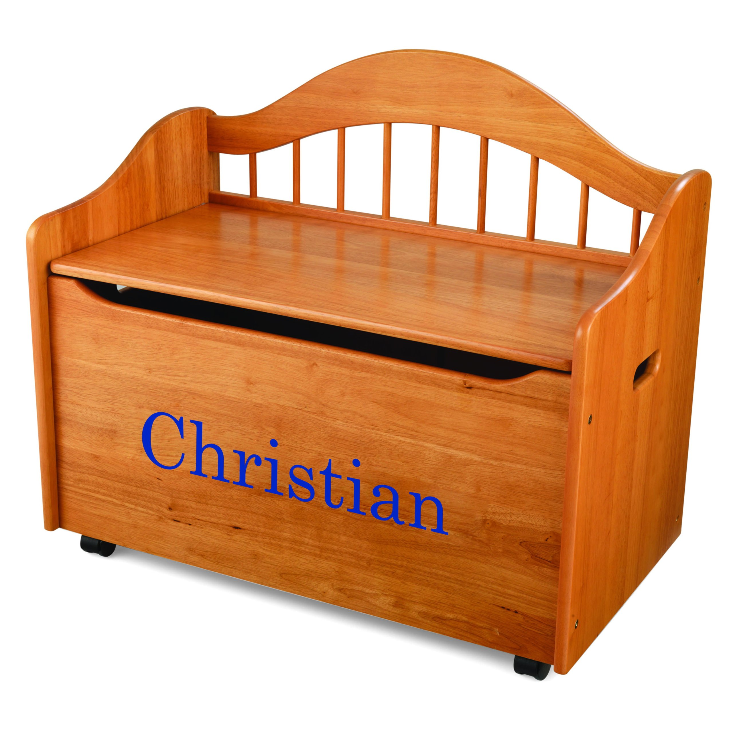 KidKraft Personalized Limited Edition Toy Box-Honey With Blue Library Font,Christian by KidKraft