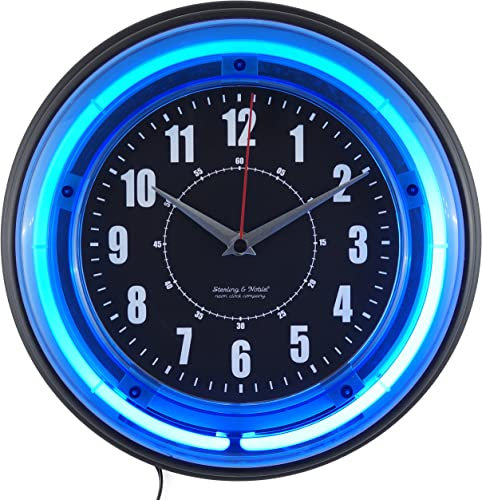 Sterling and Noble 11 Neon Wall Clock, Neon Blue by Sterling Noble