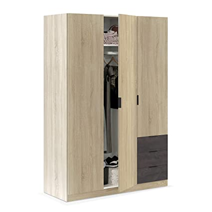 Habitdesign LC0323F - Armario ropero de Tres Puertas y Tres cajones, Medidas: 180 x 121 x 52 cm de Fondo (Roble Canadian - Oxido)