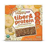 Happy Tot Organic Fiber & Protein Soft-Baked Oat Bars Organic Toddler Snack Banana...