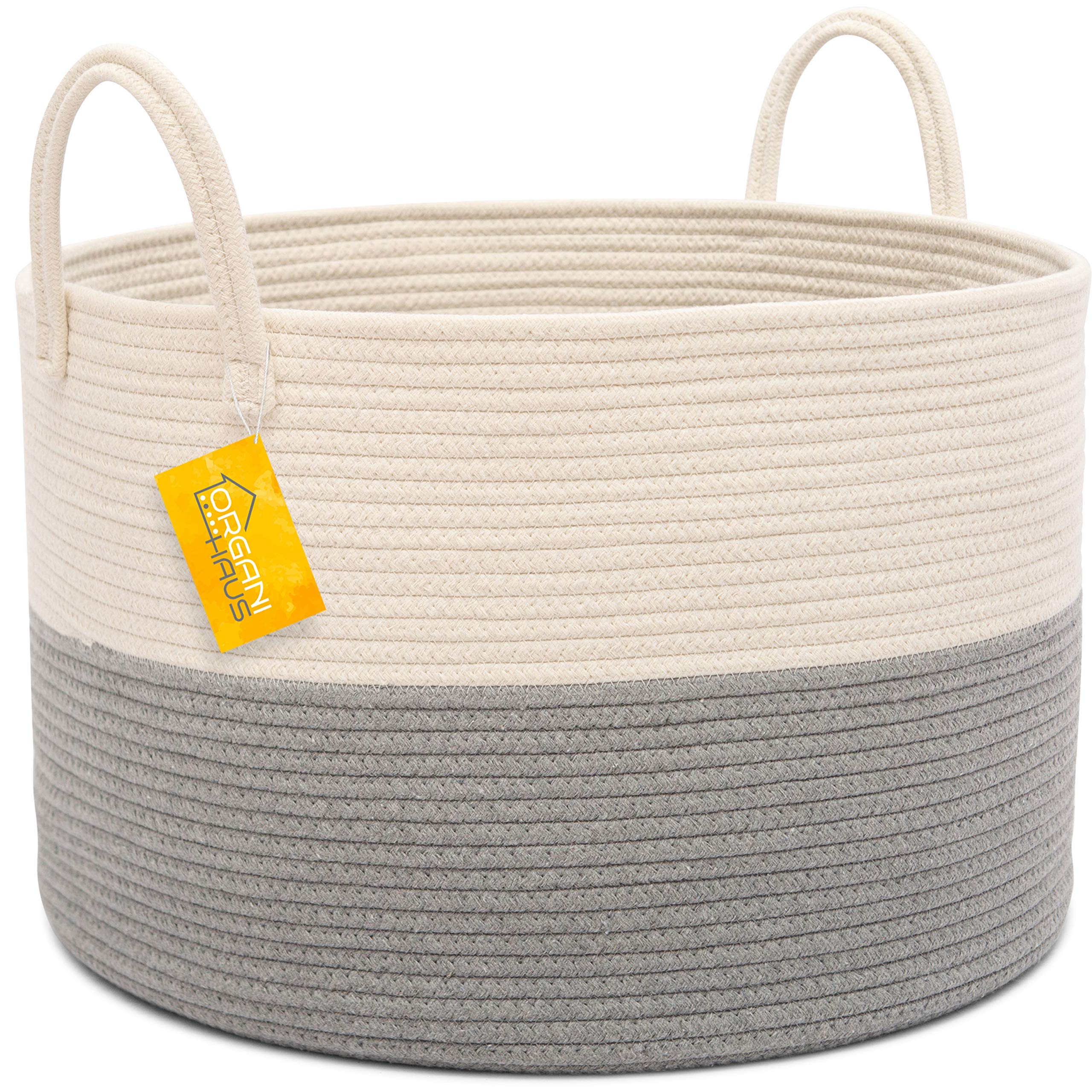 OrganiHaus XXL Extra Large Cotton Rope Basket | 20''x13.5'' Blanket Storage Basket with Long Handles | Decorative Clothes Hamper Basket by OrganiHaus