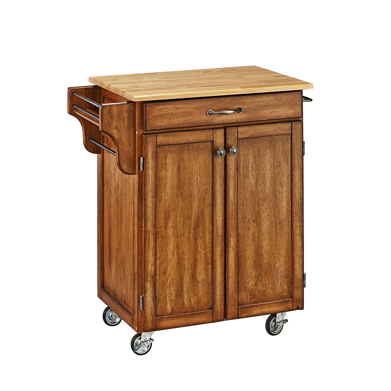 Create-a-Cart Black 2 Door Cabinet Kitchen Cart with Black Granite Top by Home Styles