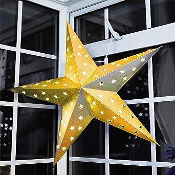 Large Led Decorative Festive Paper Star Hanging Christmas Lantern Xmas Lights 24 Gold Star
