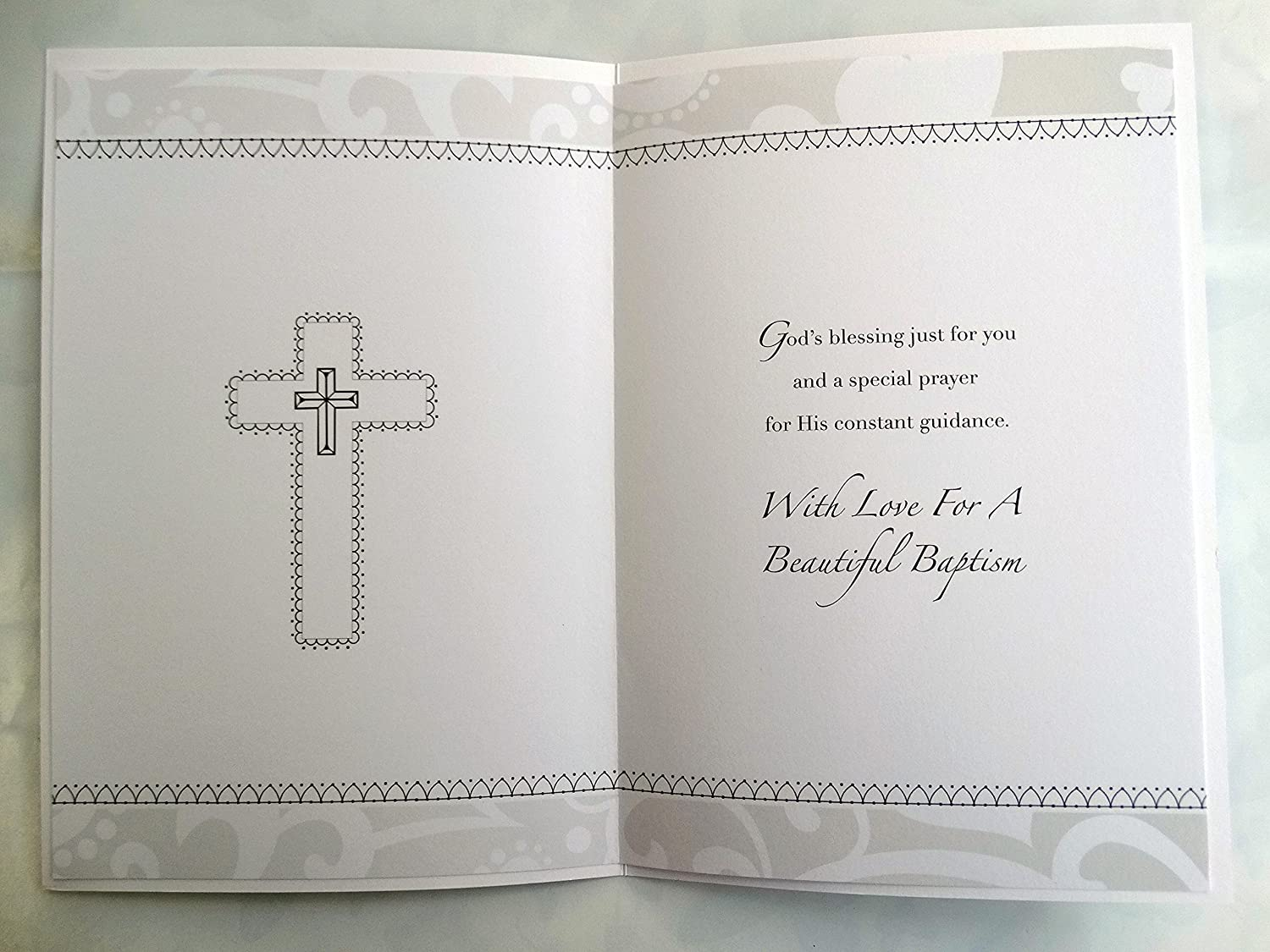 To A Much Loved Daughter On Your Baptism Scroll /& Shell Design Card