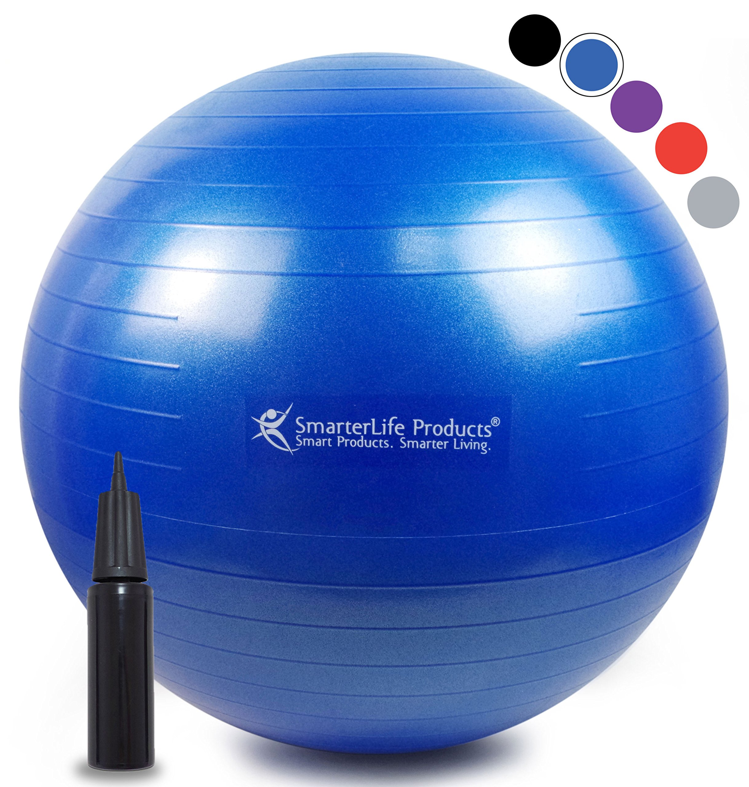 SmarterLife Exercise Ball for Yoga, Balance, Stability, Fitness, Pilates, Birthing, Therapy, Office Chair and Flexible Seating | Anti Burst, Non Slip Design | + Workout Ball Guide (Blue, 65cm)