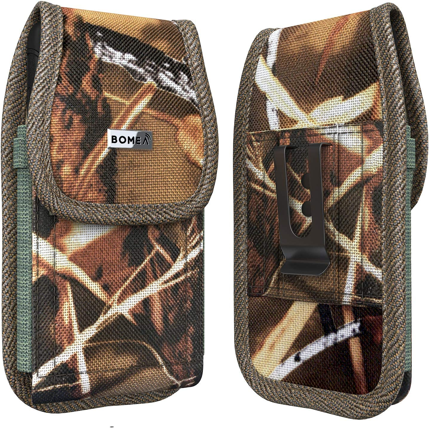PiTau Holster Designed for iPhone 11 Pro Max, Rugged Nylon Belt Case Cell Phone Carrying Pouch Holder Compatible with iPhone 11 Pro Max /Xs Max/6 Plus/6s Plus/7 Plus/8 Plus (Fits with Case on) Camo