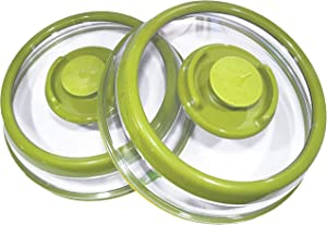 PressDome Universal Vacuum Air-tight Food Sealer Container Plate Platter Lid Cover Topper Dome, 2 Pack (Green)