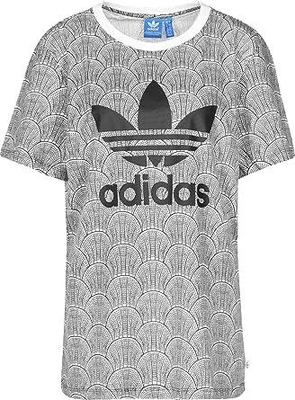 Adidas Originals  mujer Shell Tile novio t camisa en blanco / negro
