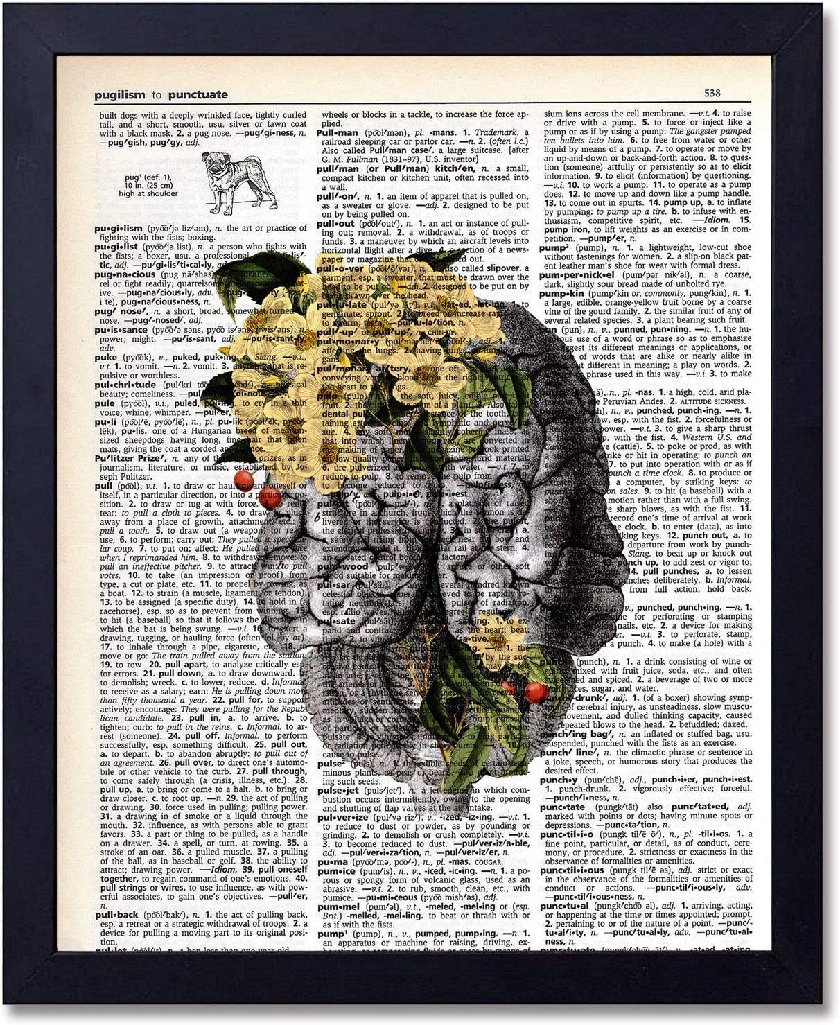Organs & Flower Anatomy Brain Dictionary Art Prints, Steampunk Medical Wall Art Goth Room Decor Gift for Office, Doctor's Office, Gift, Physician, Nurse, Unframed 8x10 inches