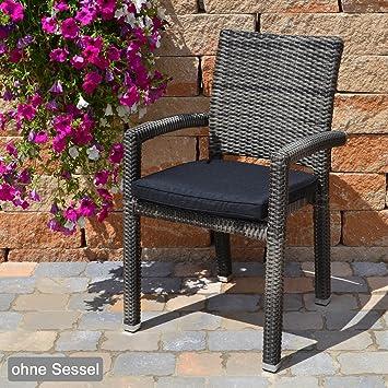10 Sitzkissen mit Rei/ßverschluss und Bindeband 49x48x6 cm in schwarz Caracas 50077-52 ohne Stuhl