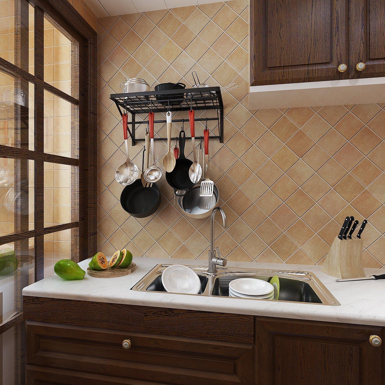 Estante de metal para macetas de pared con 10 ganchos para la cocina, organizador de libros de baño, negro: Amazon.es: Hogar