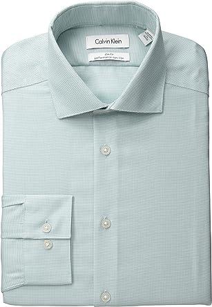 Calvin Klein Camisa de Vestir Ajustada sin Planchado a Cuadros para Hombre - Verde - 37 cm Cuello 81 cm- 84 cm Manga: Amazon.es: Ropa y accesorios