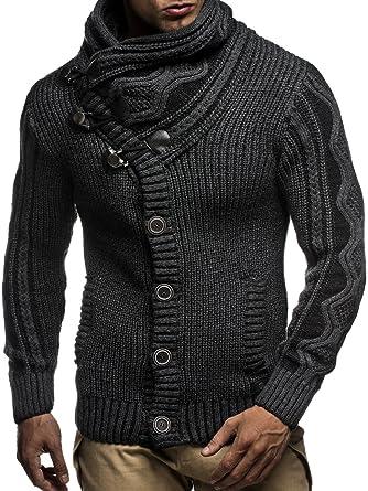 LEIF NELSON Punto de los Hombres Chaqueta de Punto del suéter con Capucha Longsleeve Chaqueta de Invierno Jersey de