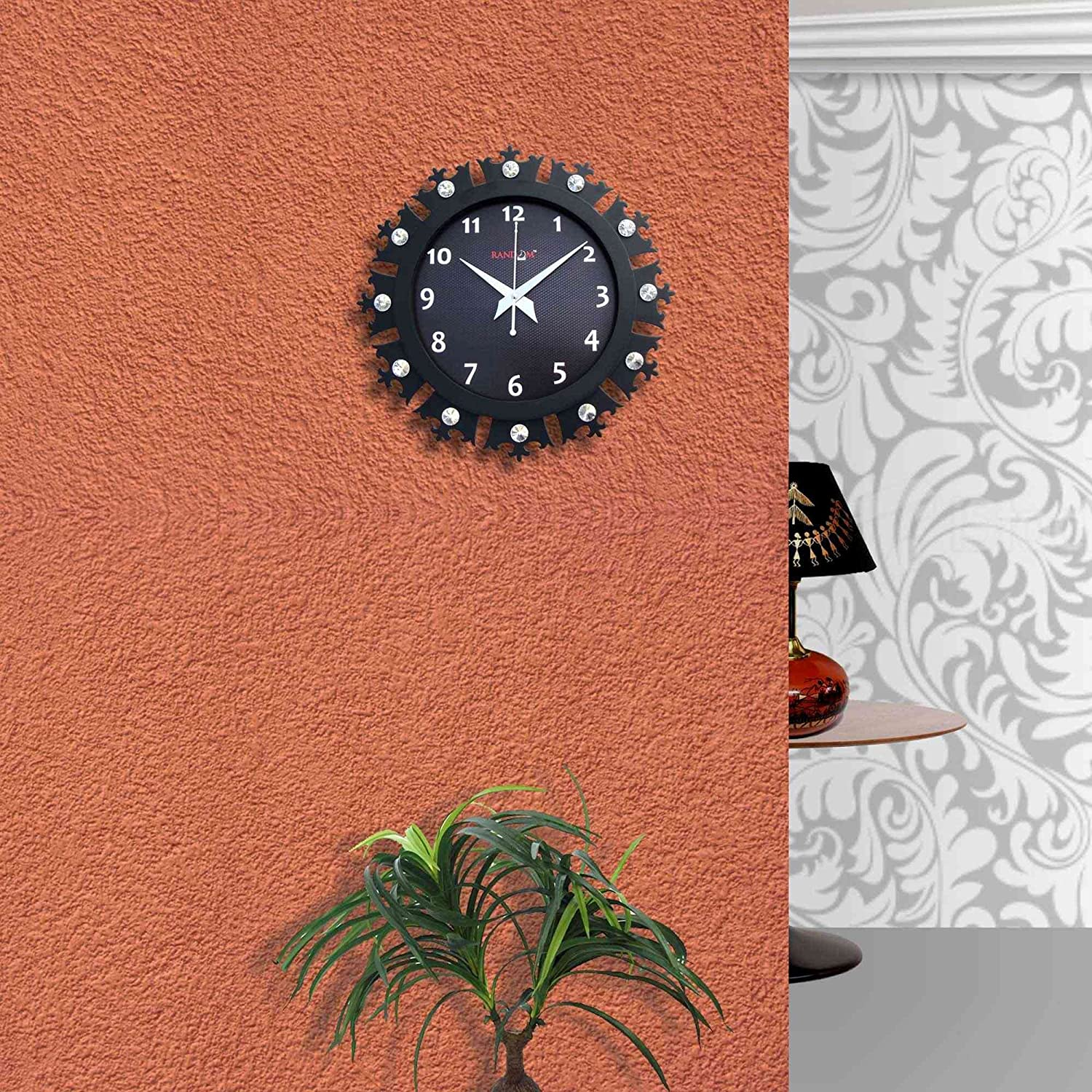 Buy Random Clocks Crowny Round Wood Wall Clock 30 Cm X 30 Cm X 5 Cm Black Rc 0714 Online At Low Prices In India Amazon In