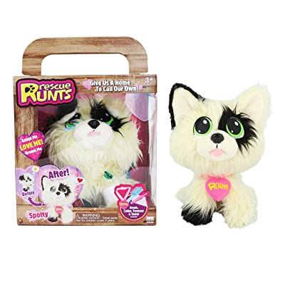 Rescue Runts Spotty Plush Dog, White/Black: Toys & Games