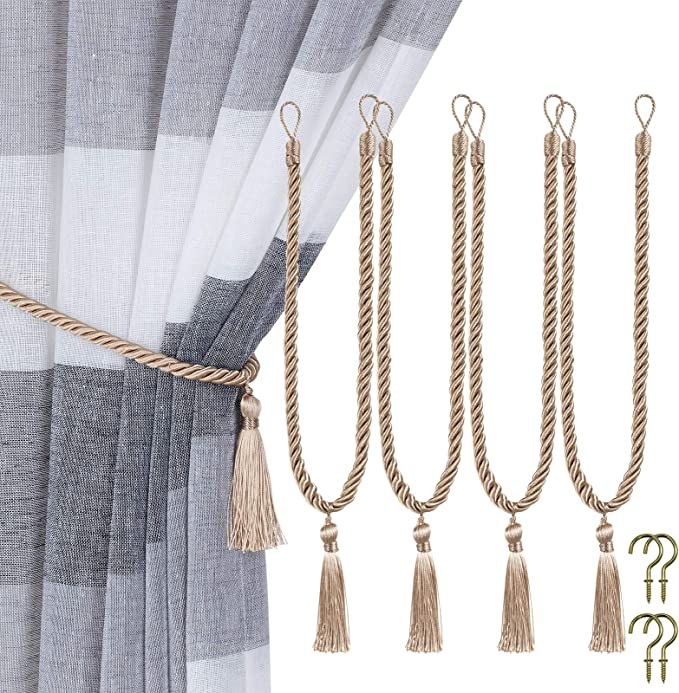 Home Queen Decorative Tassel Rope Tie Backs For Window Curtain Hand Knitting Buckle Cord Drapery Tieback 4 Pieces Taupe Kitchen Dining