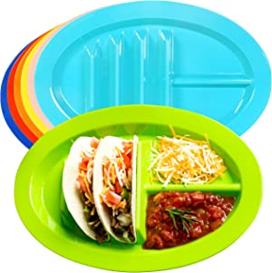Youngever Taco Holder Plates, Microwave and Dishwasher Safe, Set of 9 in 9 Assorted Colors