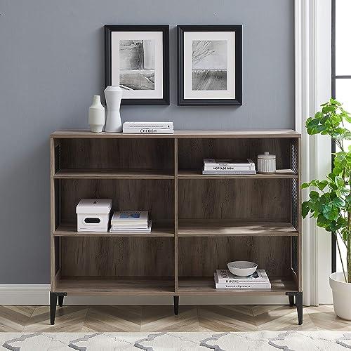 Walker Edison 2 Tier Industrial Wood and Metal Mesh Bookcase Bookshelf Home Office Storage Cabinet