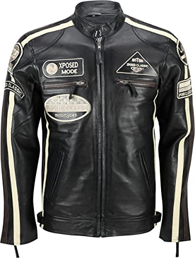 Xposed � Real Suave Piel Fitted Carreras Biker Chaqueta Vintage Urban Retro Look