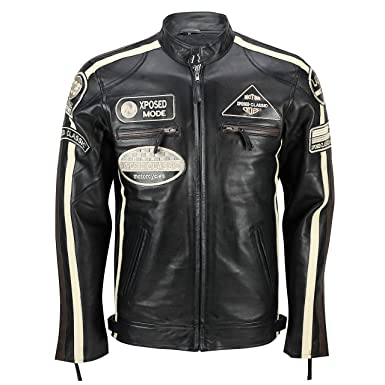 Xposed - Real Suave Piel Fitted Carreras Biker Chaqueta ...