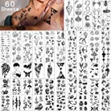 Yazhiji Waterproof Temporary Tattoos - 60 Sheets Tiny Fake Tattoo, Flowers Crowns Stars Animal Butterfly Collection Tats for