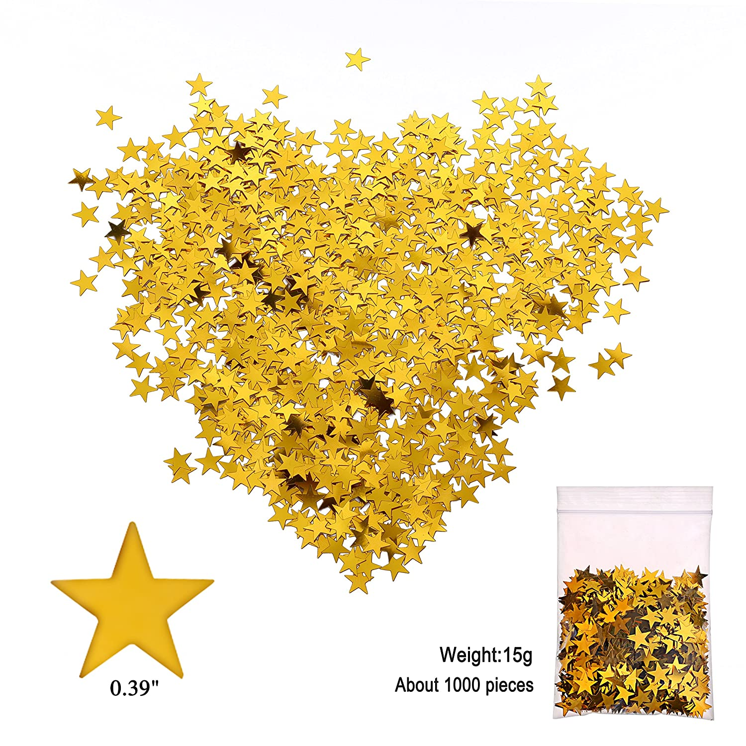 15 Gram Gold Hanging Party Supplies for Wedding Shower Birthday Party Table Decor Twinkle Twinkle Little Star Baby Shower 30 Counts Konsait Hanging Swirl Gold Decorations Gold Star Table Confetti