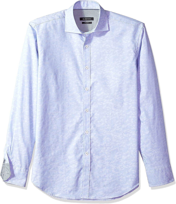 Bugatchi Mens Shaped Fit Button-Down Collar Long Sleeve Woven Shirt
