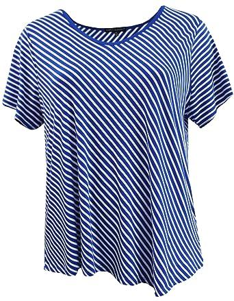 ba37aebb87e BNY Corner Women s Plus Size Short Sleeve Stripe T Shirt Summer Top Tee Blue  1 X