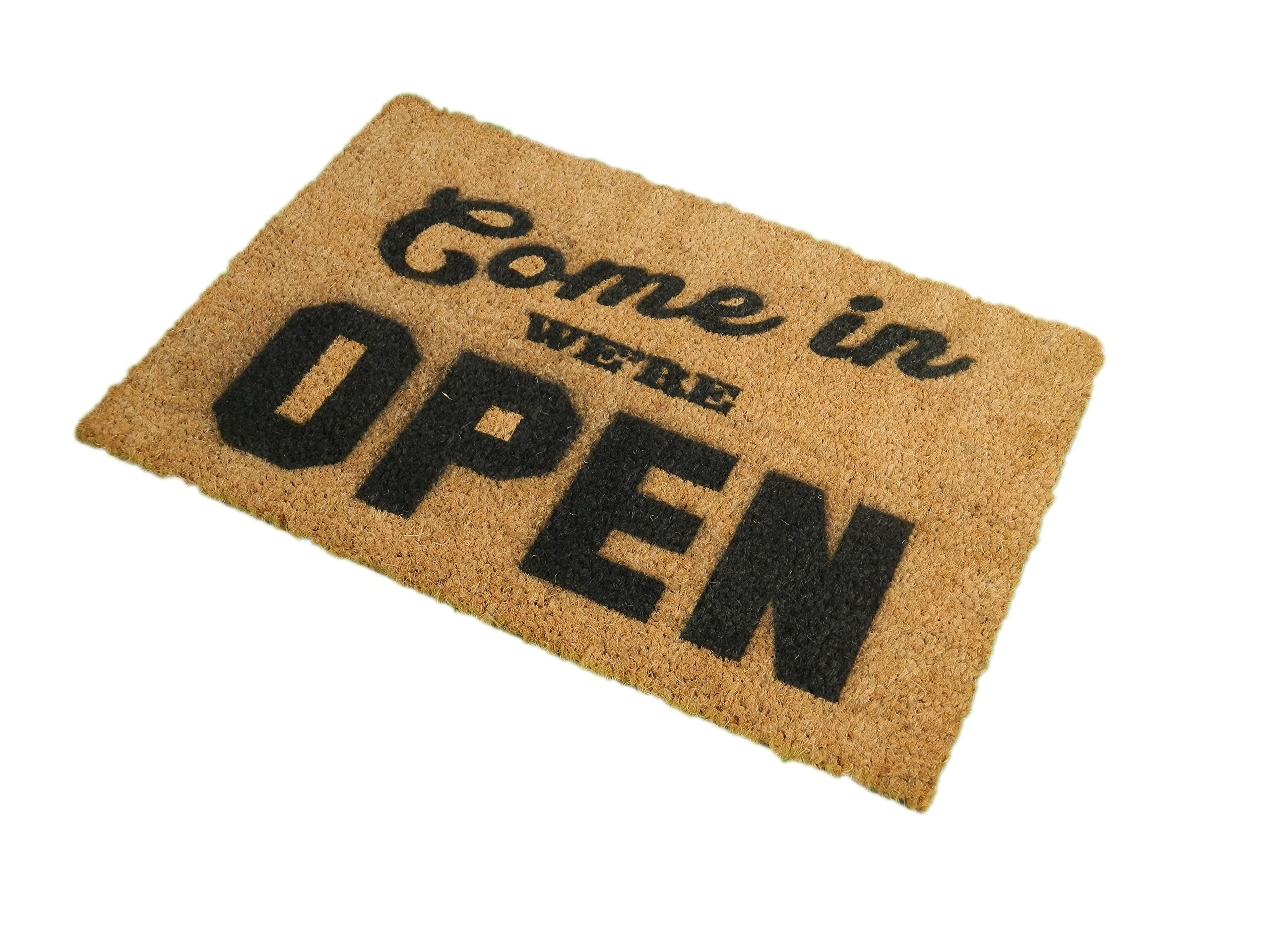 CKB Ltd Come In We'Re Open Novelty Doormat Unique Doormats Front/Back Funny Door Mats Made With A Non-Slip Pvc Backing - Natural Coir - Indoor & Outdoor