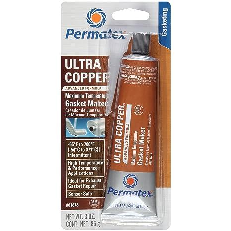 Permatex 81878 Ultra Copper Maximum Temperature RTV Silicone Gasket Maker,  3 oz  Tube