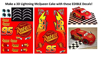 photograph relating to Lightning Mcqueen Printable Decals referred to as : Edible Lightning McQueen Vehicle Decals toward produce a