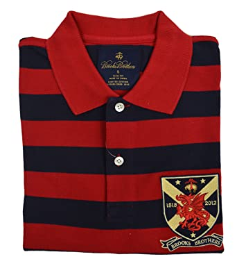 a2857198 Image Unavailable. Image not available for. Color: Brooks Brothers Men's  Slim Fit Limited Edition Crest Polo Shirt Red Navy Blue ...