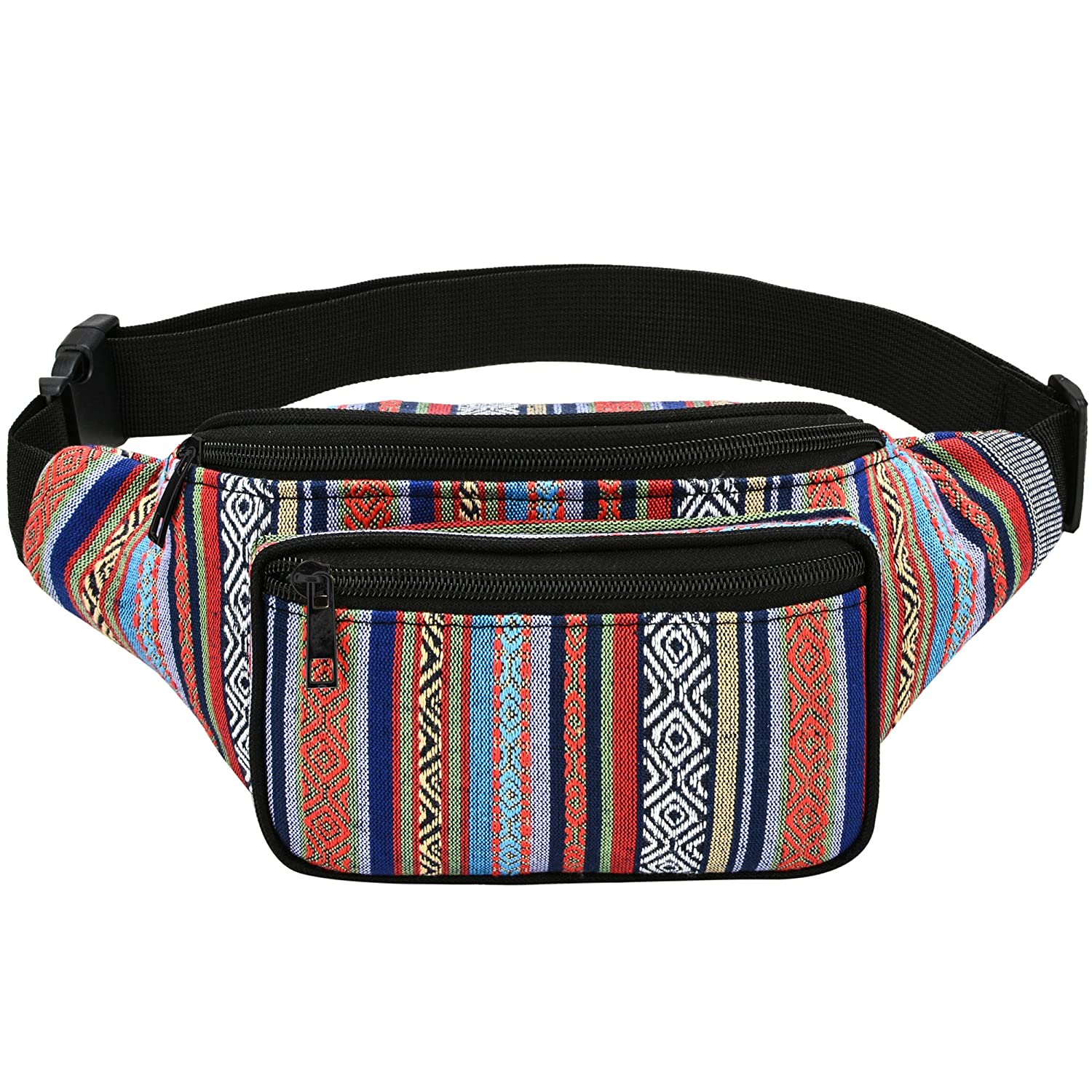 Kayhoma Boho Fanny Pack Stripe Festival Rave Retro Vintage Bum Bags Travel Hiking Waist Belt Purse yb008