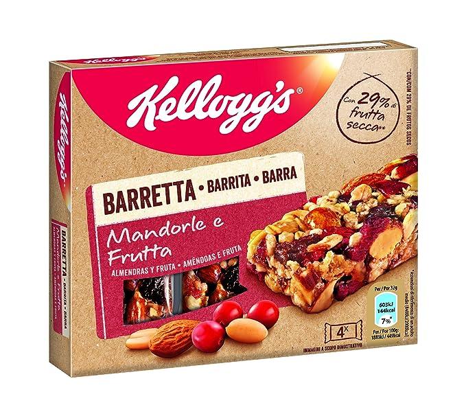 Kelloggs Barritas Almendras y Fruta - 10 Paquetes de 128 gr - Total: 1280 gr