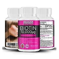Biotina 10000 mcg | Vitamina para el crecimiento capilar | Pastillas nº 1 para el crecimiento del cabello | Productos para el cabello de biotina de máxima fuerza | 120 comprimidos de engosador capilar natural | Dosis para 4 meses COMPLETOS | Ayuda a las mujeres a crecer el pelo | Seguro y efectivo