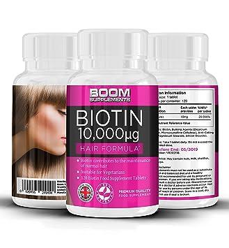 Biotina 10000 mcg | Vitamina para el crecimiento capilar | Pastillas nº 1 para el crecimiento del cabello | 120 comprimidos | Dosis para 4 meses ...