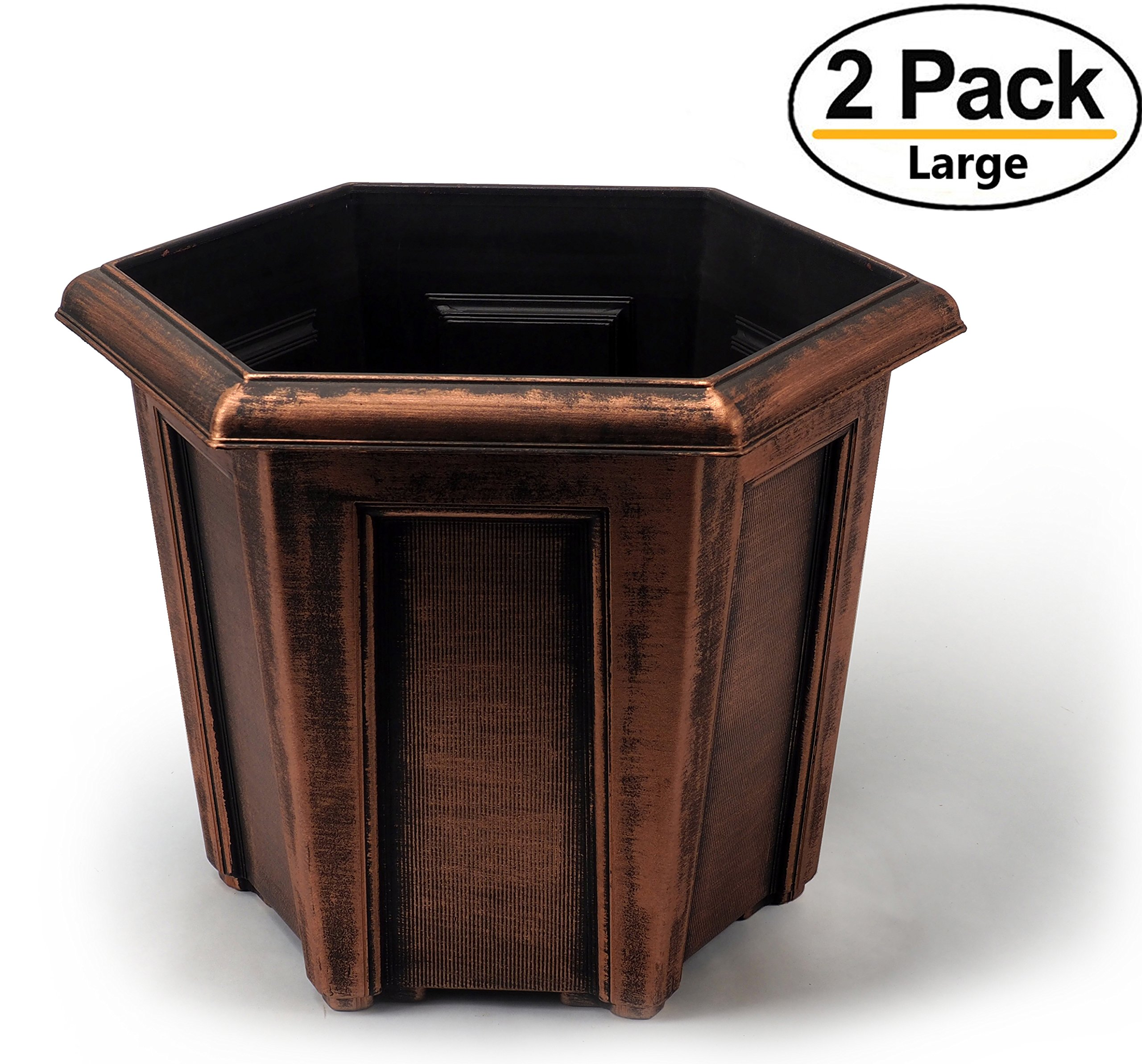 Extra Large 15X13 inches Hexagon Rustic Metal Look Plastic Planters/Flowerpot for Indoor, Outdoor, Garden Patio Office Ornaments Home Decor Use Long Lasting Reusable Light Weight (Copper-XL)